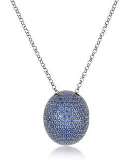 Blue Cubic Zirconia Sterling Silver Pendant Necklace
