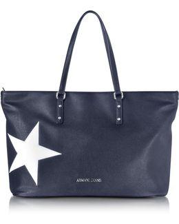 Dark Navy Eco Leather Tote W/star