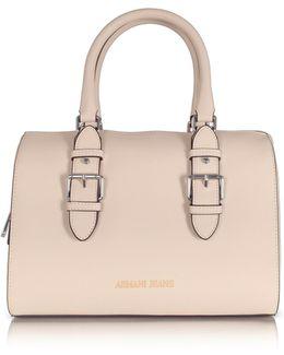 Light Beige Eco Leather Satchel Bag