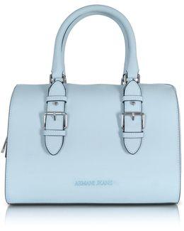 New Light Blue Eco Leather Satchel Bag