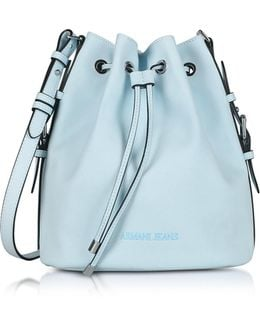 New Light Blue Eco Leather Bucket Bag