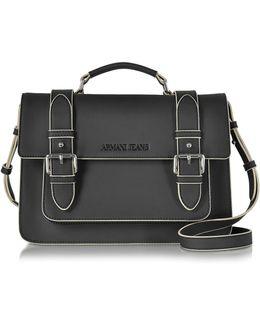 Black Eco Leather Medium Crossbody Bag