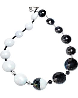 Audrey 2 Color Block Murano Glass Necklace