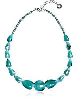Marina 2 Basic - Turquoise Green Murano Glass And Silver Leaf Choker