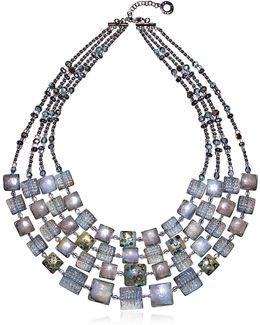 Atelier Byzantium - Grey Murano Glass & Silver Leaf Choker