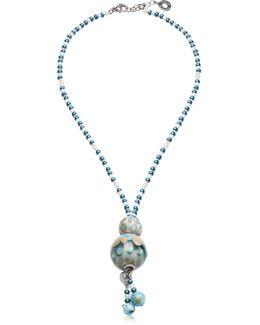 Papaya 3 Light Blue Pendant Necklace W/pastel Murano Glass Beads