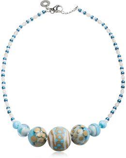 Papaya 2 Light Blue Pastel Murano Glass Choker