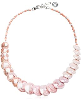 Monete 2 Pastel & Transparent Light Pink Murano Glass Choker