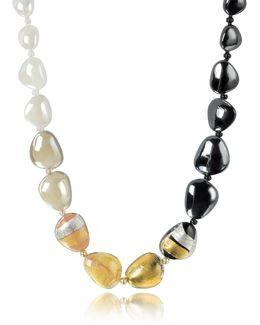 Moretta Pastel Glass Beads W/24kt Gold Leaf Necklace