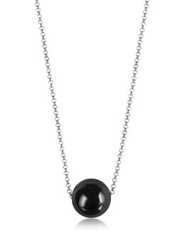 Perleadi Black Murano Glass Bead Chain Necklace