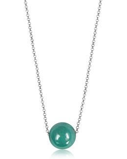 Perleadi Turquoise Murano Glass Bead Chain Necklace