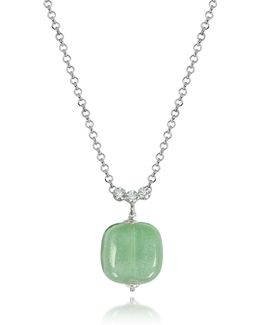 Florinda Green Murano Glass Sterling Silver Necklace