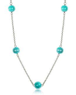Perleadi Turquoise Murano Glass Beads Necklace
