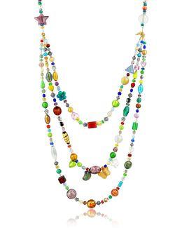 Brio - Triple-strand Multicolor Murano Glass Bead Necklace