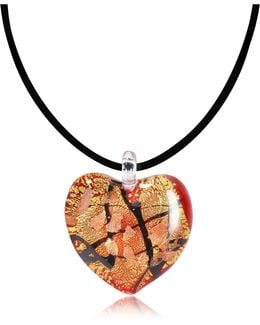 Passione - Red Gold And Black Murano Glass Heart Pendant