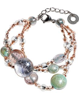 Redentore 1 - Pink And Green Murano Glass Drops & Silver Leaf Bracelet