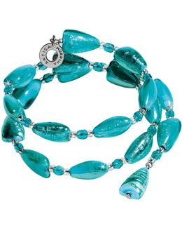 Marina 1 Rigido - Turquoise Green Murano Glass And Silver Leaf Bracelet