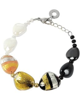 Moretta Pastel Glass Beads W/24kt Gold And Silver Leaf Bracelet