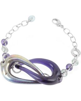 Connection - Interlocking Murano Glass And Sterling Silver Bracelet