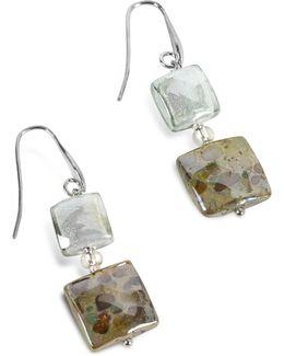 Atelier Byzantium - Grey Murano Glass & Silver Leaf Dangling Earrings