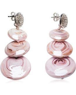 Monete 1 Pastel & Transparent Light Pink Murano Glass Earrings