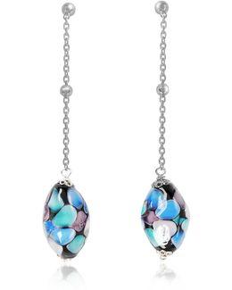 Smeralda Glass Beads Sterling Silver Earrings
