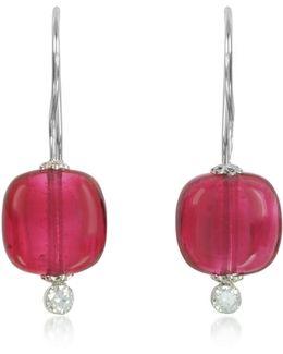Florinda Ruby Murano Glass Sterling Silver Earrings