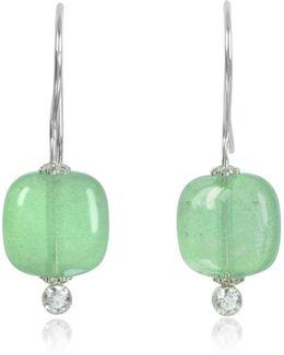 Florinda Green Murano Glass Sterling Silver Earrings