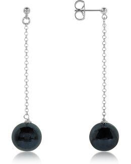 Perleadi Black Murano Glass Bead Earrings