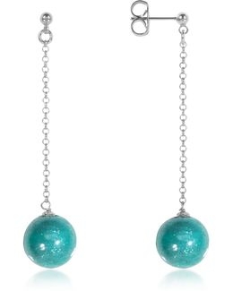 Perleadi Turquoise Murano Glass Bead Earrings