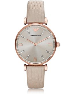 T-bar Rose Gold-tone Pvd Stainless Steel Women's Quartz Watch W/leather Strap