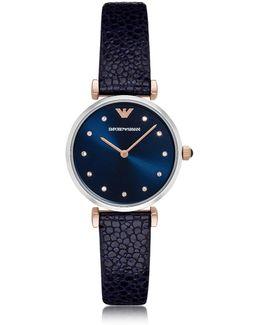 T-bar Stainless Steel Women's Quartz Watch W/midnight Blue Leather Strap
