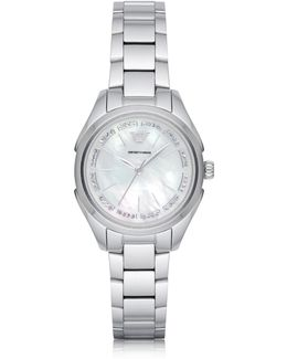 Stainless Steel Women's Quartz Watch W/mother Of Pearl Signature Dial