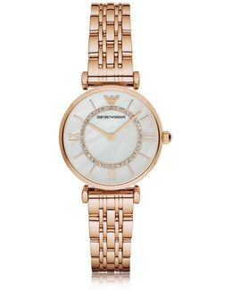 Rose Gold Pvd Stainless Steel Women's Quartz Watch W/mother Of Pearl Signature Dial