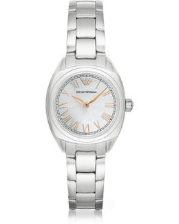 Stainless Steel Women's Watch W/rose Gold Pvd Roman Numbers