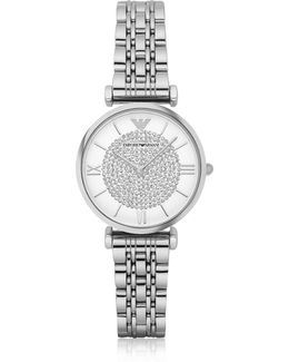 T-bar Silvertone Stainless Steel Women's Watch W/crystals Dial