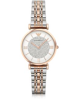 T-bar Two Tone Stainless Steel Women's Watch W/crystals Dial