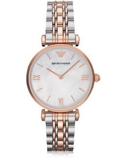 White Mother-of-pearl Dial Stainless Steel And Rose Gold-tone Women's Watch