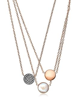 Signature Rose Goldtone Necklace W/triple Charms