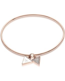 Signature Rose Goldtone Bangle W/double Charm