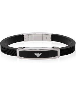Stainless Steel And Black Rubber Men's Bracelet