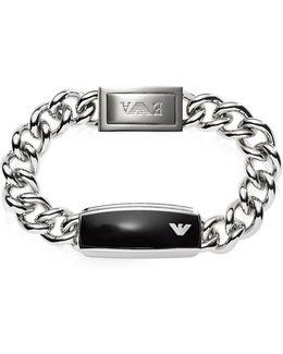 Silver Tone Stainless Steel Men's Bracelet