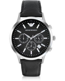 Stainless Steel Chronograph Watch W/embossed Leather Strap