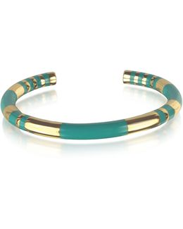 18k Gold-plated & Emerald Green Enamel Resin Positano Striped Bangle