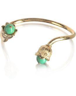 18k Gold-plated Lily Of The Valley Bracelet W/turquoise