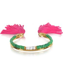 18k Gold-plated & Green Jaspe And White Bamboo Beads Sioux Bracelet W/pink Cotton Tassels