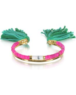 18k Gold-plated & Pink Tinted Howlite And White Bamboo Beads Sioux Bracelet W/emerald Cotton Tassels