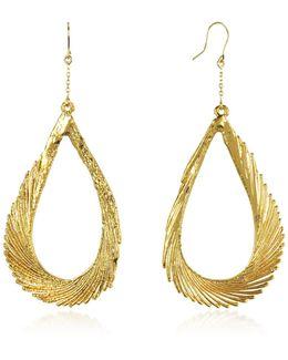 Gold Swan Feather Earrings