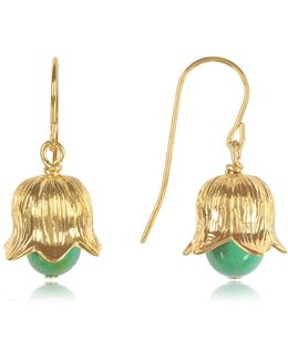 18k Gold-plated Lily Of The Valley Earrings W/turquoise