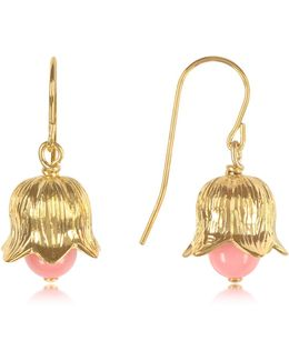 18k Gold-plated Lily Of The Valley Earrings W/pink Bamboo Pearl